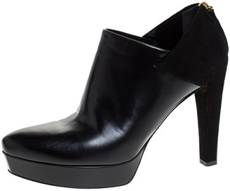 Gucci Black Suede Leather Platform Booties Size 39