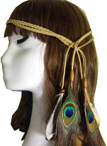 EYouth Indiana Peacock Feather Headband, Feather Headpiece with Bead for Women and Girls