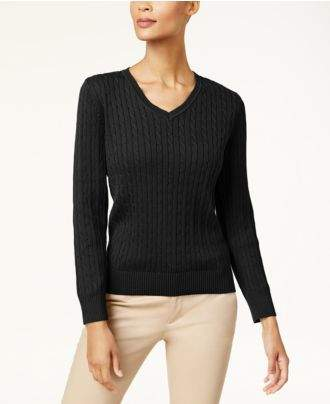 Karen Scott Cotton V-Neck Cable-Knit Sweater, Created for Macy's