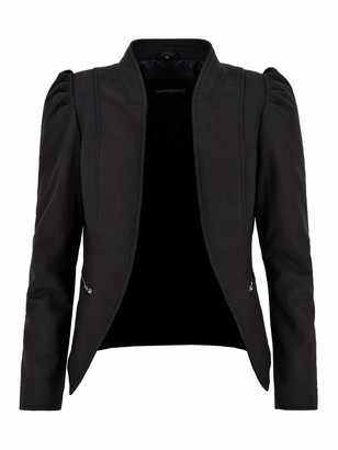 Carrie CH Hoxton Ladies Puff Sleeves Jacket Real Leather Matt Black Front Open Blazer Jacket 5370 (8)