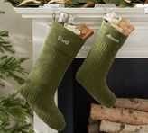 Pottery Barn Channel Quilted Velvet Stocking - Green