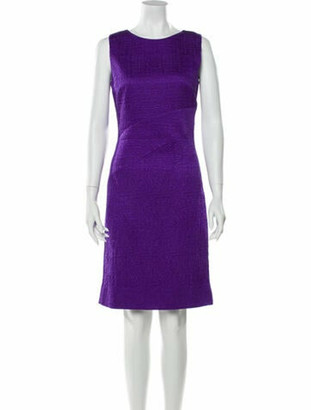Oscar de la Renta Scoop Neck Knee-Length Dress Purple