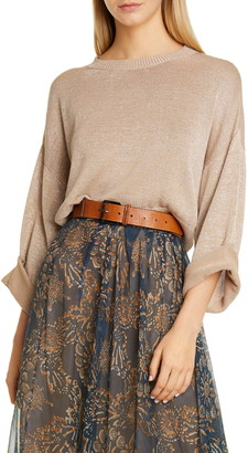 Brunello Cucinelli Roll-Up Sleeve Metallic Crop Sweater