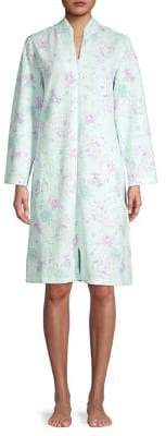 Miss Elaine Floral Full-Zip Cotton-Blend Robe