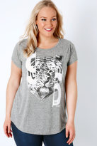 """Yours Clothing Grey """"New York City"""" Tiger Print Textured Jersey Top"""