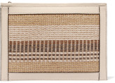 AERIN Textured Leather-trimmed Striped Straw Pouch - Beige