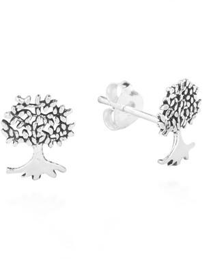 Aeravida Handmade Mini Summer Love Tree of Life Sterling Silver Post Earrings