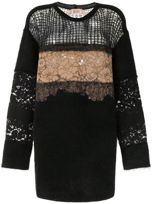 No.21 Floral Embroidered Open Knit Jumper