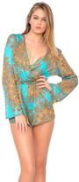 Luli Fama Suenos Estrellados Wrap Front Long Sleeve Romper in Multicolor (L47494L)