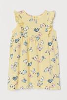 H&M Ruffle-trimmed Cotton Dress - Yellow