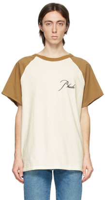 Rhude Off-White and Tan Raglan Logo T-Shirt