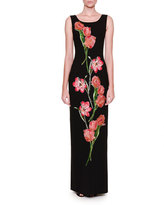 Dolce & Gabbana Sleeveless Tulip-Appliqué Column Gown, Black/Bright Pink
