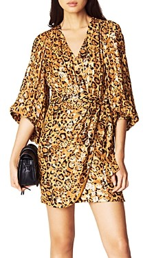 BA&SH ba & sh Ginger Blouson-Sleeve Wrap Dress