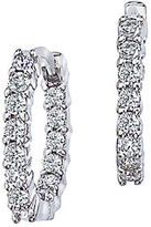 Roberto Coin Diamond and 18K White Gold Hoops Earrings, 0.6in