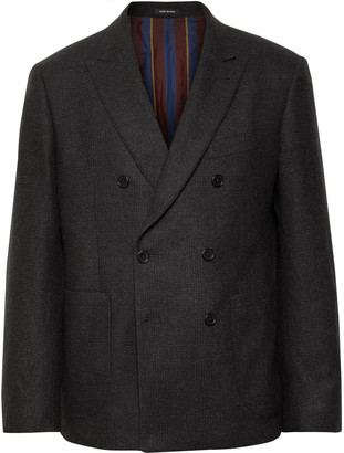 Noah Dark-Grey Double-Breasted Checked Wool And Cashmere-Blend Blazer