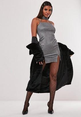 Missguided Hayden Williams X Silver Glitter Choker Mini Dress