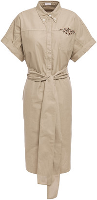 Brunello Cucinelli Belted Embellished Cotton-canvas Shirt Dress