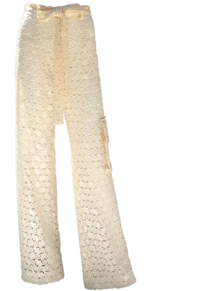 Relax Baby Be Cool Sequined White Cotton Long Trousers