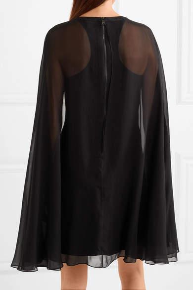 Karl Lagerfeld Cape-effect Stretch-silk Satin And Silk-chiffon Mini Dress - Black