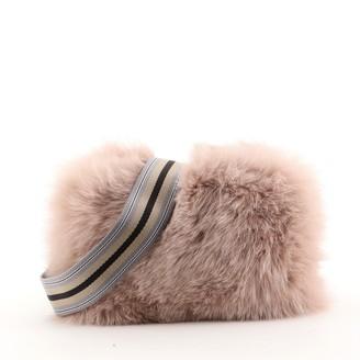 Prada Strap Shoulder Bag Fur with Canvas Small