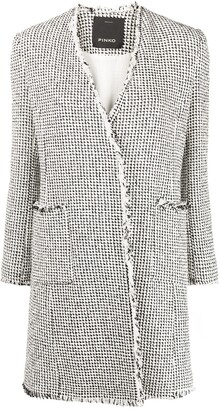 Pinko Tweed-Effect Frayed Coat