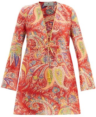 Etro Itaca Paisley-print Ramie Mini Dress - Red Multi