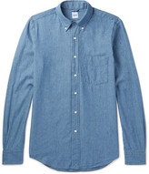 Aspesi Slim-fit Button-down Collar Cotton-chambray Shirt