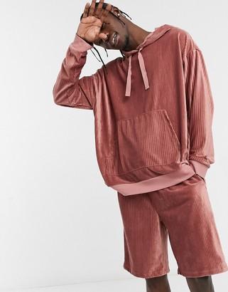 ASOS DESIGN lounge pajama hoodie and short set in ribbed velour