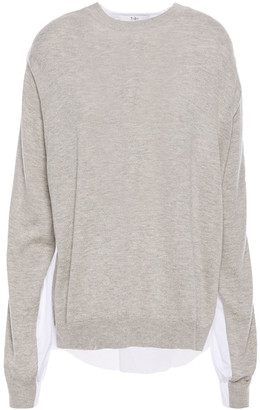 Tibi Paneled Shell And Melange Knitted Top