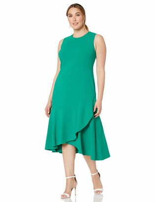 Calvin Klein Women's Size Sleeveless Midi Sheath with Flounce Hem