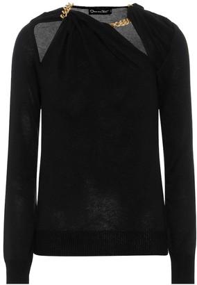 Oscar de la Renta Chain-trimmed silk sweater