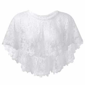 CHICTRY Wedding Cape Bridal Bridesmaid Bolero Shawl Floral Lace Neck Cape Shrug for Women Girls Evening Party Dresses White A One Size