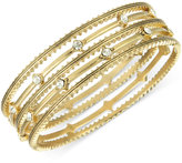 The Sak Bracelet Set, Gold-Tone Crystal Accent Textured Bangle Bracelets