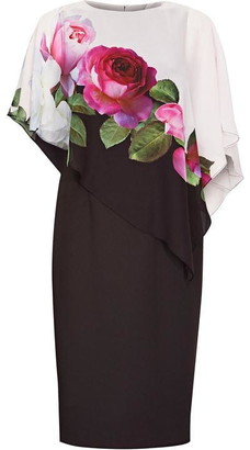 Adrianna Papell Chiffon Cape Sheath Dress