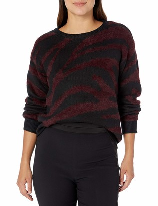 Vince Camuto Women's Short Eyelash Zebra Pullover Sweater