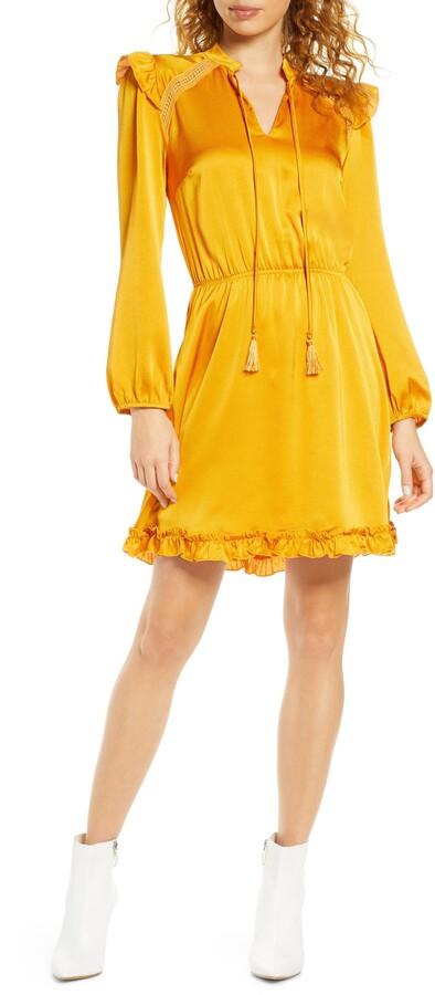 Fraiche by J Tie Neck Long Sleeve Satin Dress