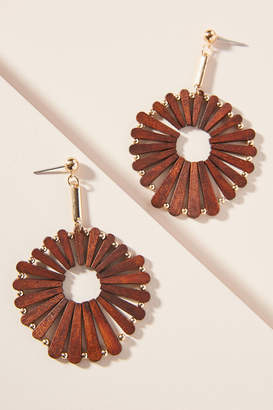 Anthropologie Wooden Windmill Drop Earrings