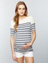 A Pea in the Pod Luxe Essentials Denim Striped Maternity Top