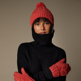 Love & Lore Love And Lore Sustainable Style Eco Cable Knit Pom Hat Coral