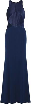 Halston Satin-paneled Crepe Gown