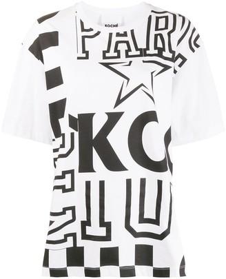 Koché B&w Patchwork Print Tee-Shirt