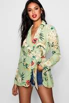 boohoo Elsa Premium Floral Print Belted Blazer