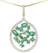RARE Featuring GEMFIELDS Certified Emerald (1-3/4 ct. t.w.) and Diamond (1/3 ct. t.w.) Scatter Pendant Necklace in 14k Gold