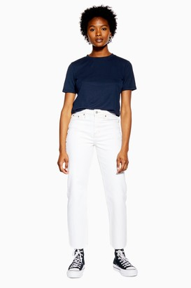 Topshop Womens Petite Off White Straight Jeans - White