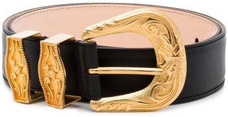 Versace Black Engraved Buckle Leather Belt