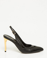 Le Château Leather-Like Pointy Toe Slingback Pump