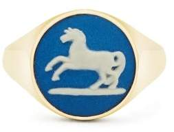 Wedgwood Ferian Ceramic Horse And Gold Signet Ring - Womens - Blue