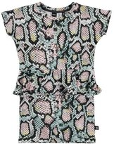 Molo Christina Rattlesnake Peplum Dress, Multicolor, Size 3-12