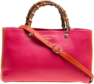 Gucci Fuchsia/Orange Leather Medium Exclusive Bamboo Shopper Top Handle Bag