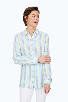 Foxcroft Women's Journey Easy Care LS Stripe Linen Shirt